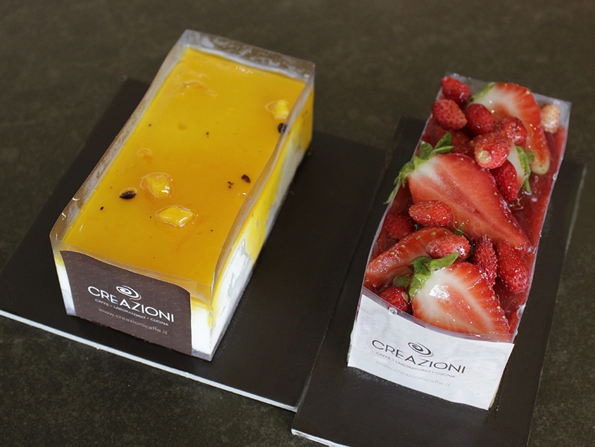 Passion fruit cake and strawberry cake