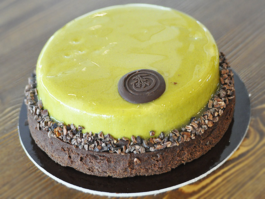 Pistachio and chocolate cake